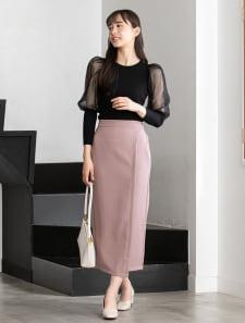 アシメデザインカラータイトスカート