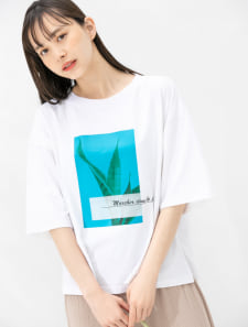 リーフフォトブリントTシャツ
