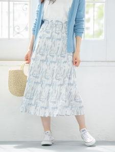モザイクプリントプリーツスカート