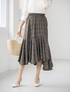 イレギュラーヘム花柄スカート