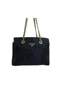 【PRADA】ナイロンロゴ金具Wチェーンショルダーバッグ