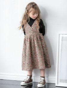 【KIDS】カシュクールデザイン花柄サロペットスカート