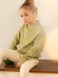 【KIDS】鹿の子編みハイネックニット