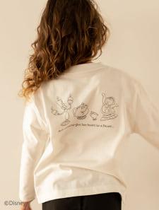 【KIDS】【Disney】美女と野獣/モノトーンプリントロングTシャツ