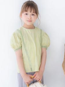 【KIDS】パフスリーブレースブラウス