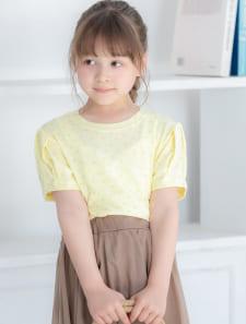 【KIDS】フラワーラメプリントTシャツ