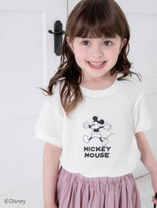【KIDS】【Disney】ミッキー/ワッフルプリントTシャツ