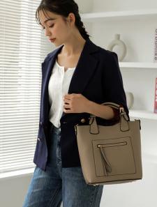 フロントジップポケットハンドバッグ
