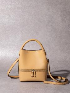 【High-Line】デザインジップワンハンドルハンドバッグ