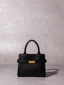 【High-Line】フロントゴールドミドルハンドバッグ