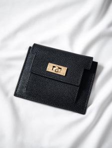 フロントゴールドフェイクレザーミニ財布