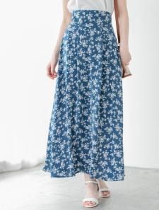 バックゴムホワイトフラワーロングスカート
