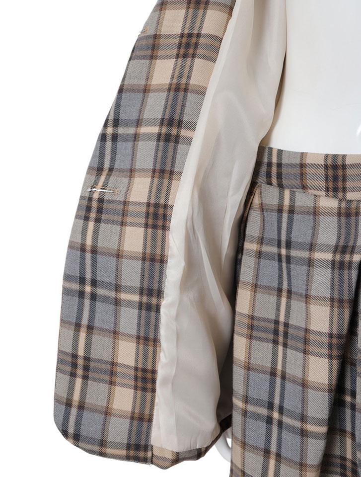 チェックジャケットスカートセットアップ