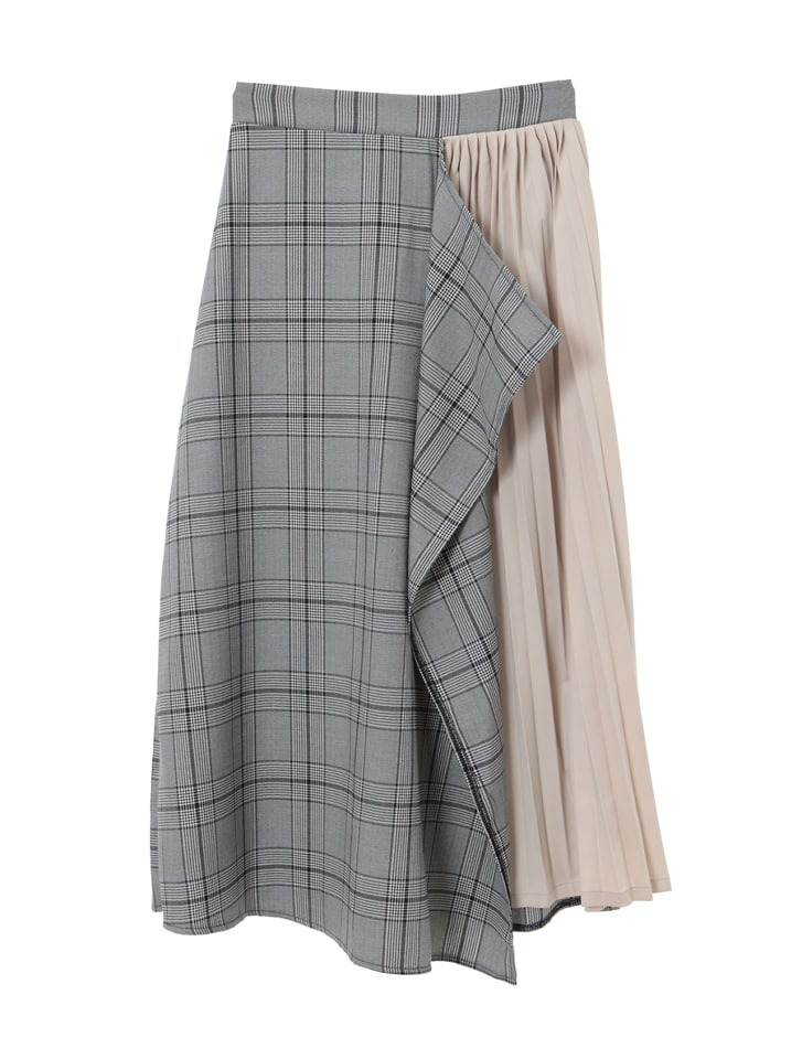 イレギュラーデザインチェックプリーツスカート