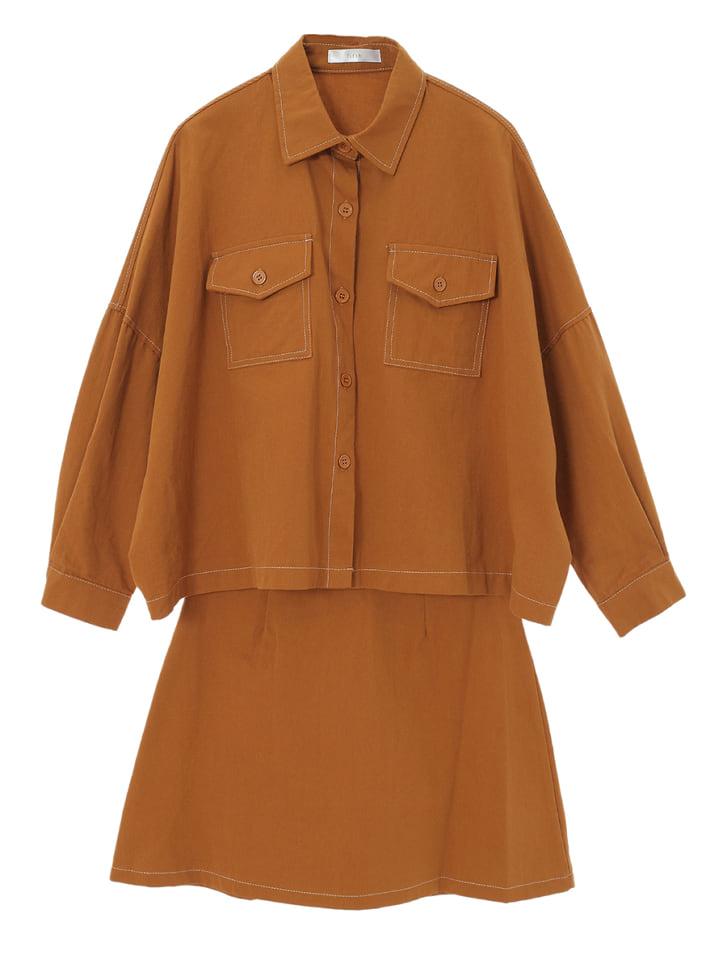 ステッチシャツスカートセットアップ