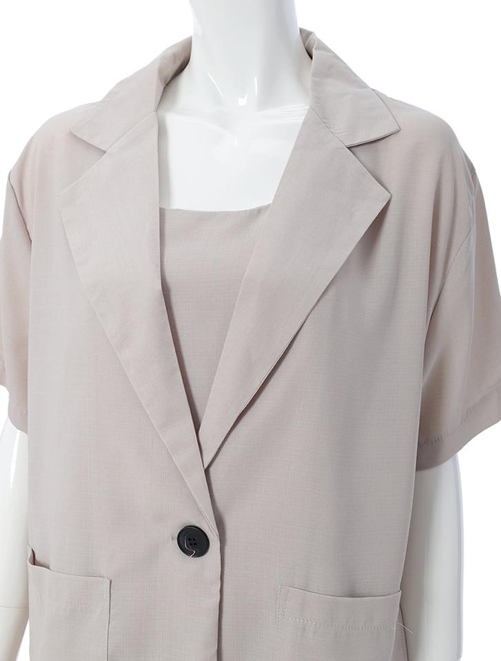 キャミ付き半袖ジャケットセットアップ