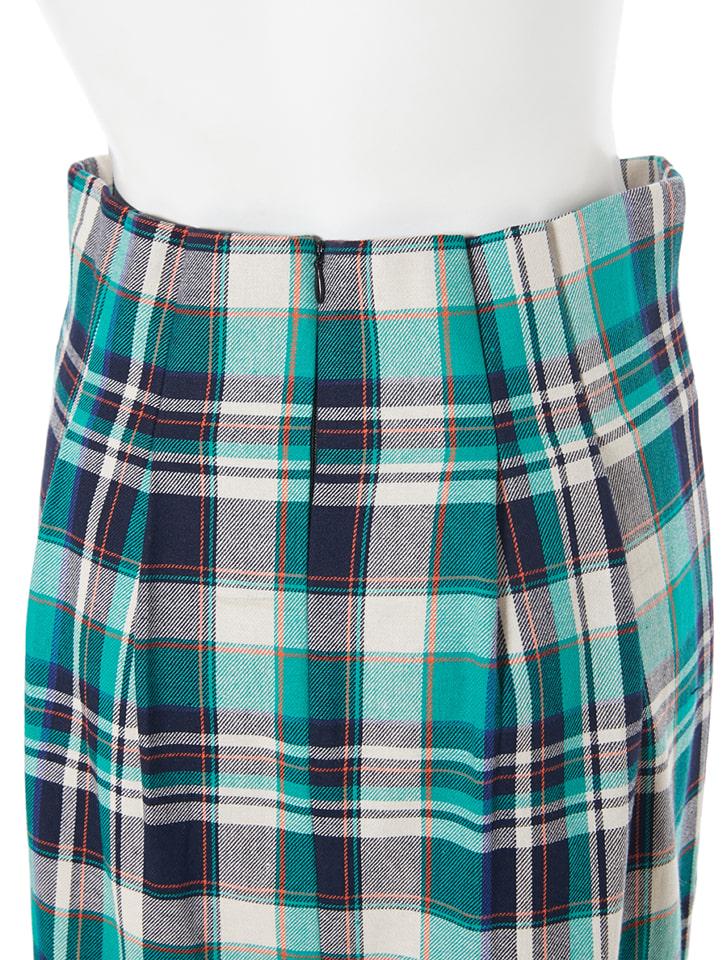 カラーチェックバックスリットタイトスカート