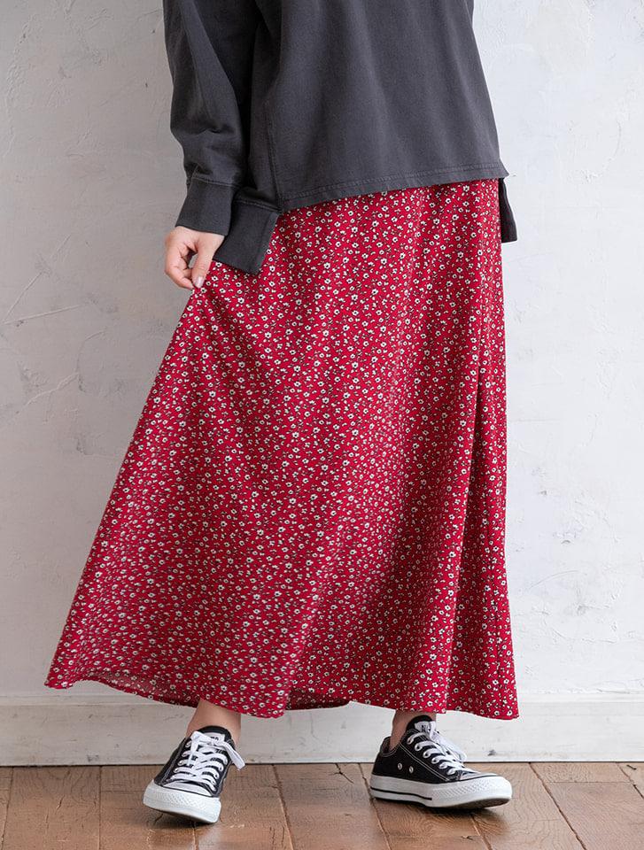 レトロフラワーロングフレアスカート