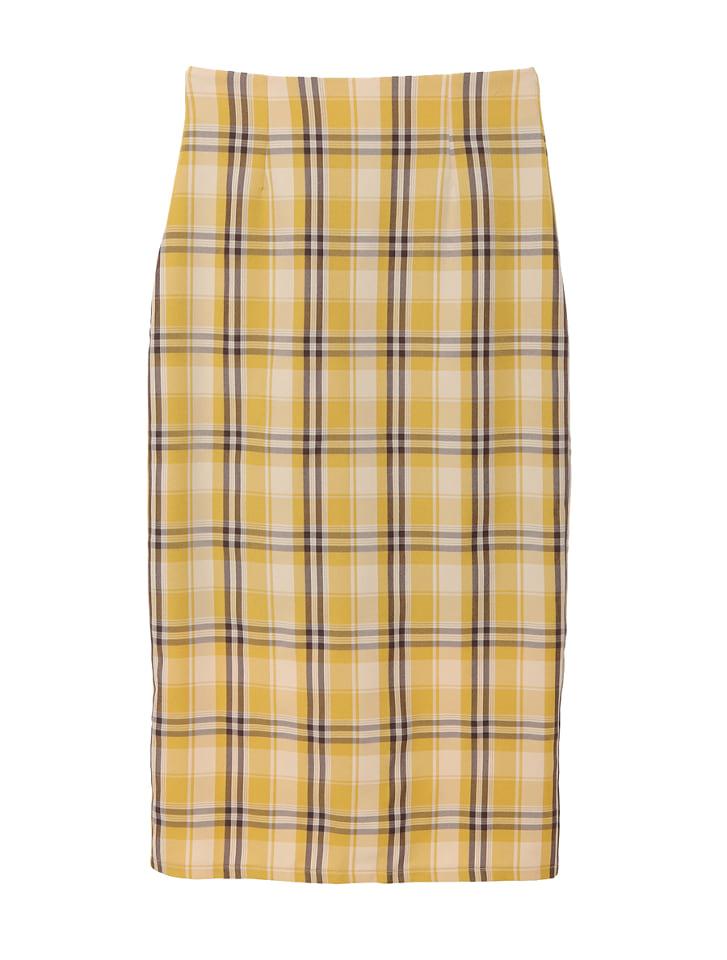 チェック柄バックスリットタイトスカート