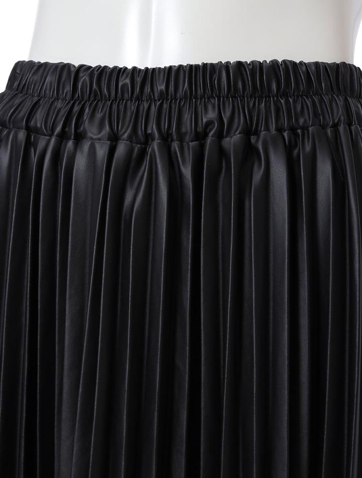フェイクレザープリーツスカート