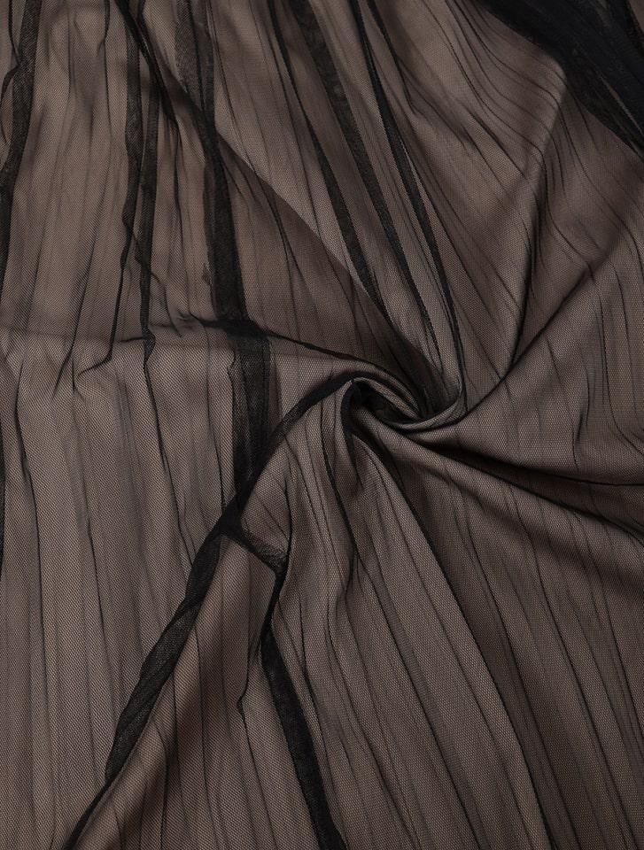 プリーツチュールドッキングサテンスカート