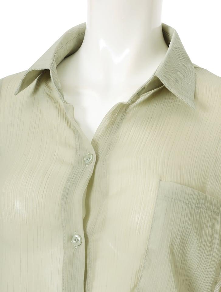 ドロップショルダーシアーシャツ