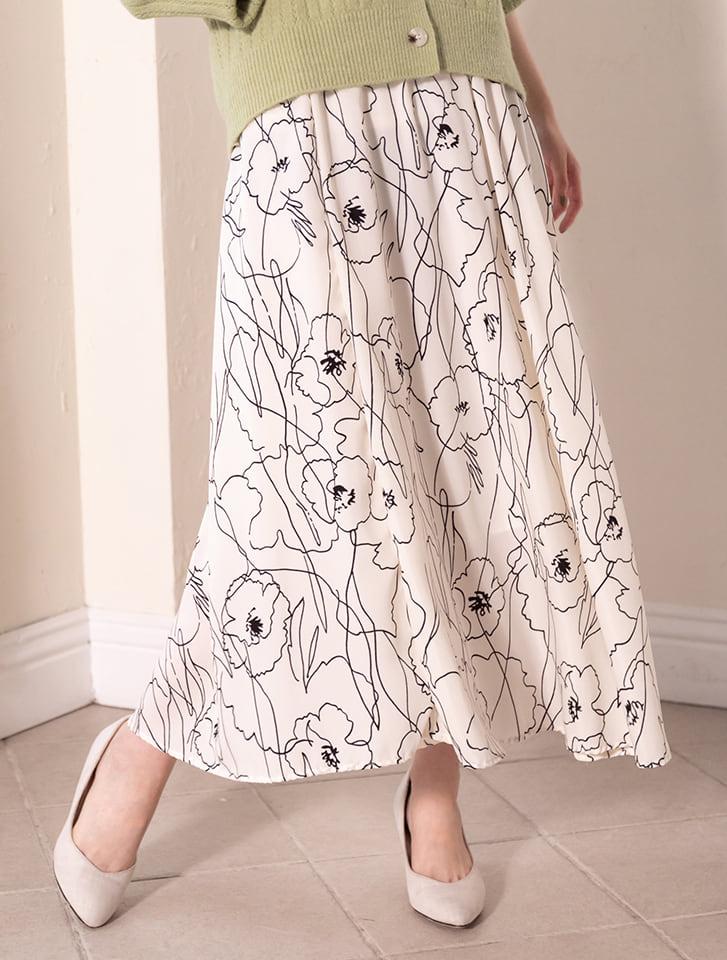 バイカラーフラワーフレアスカート
