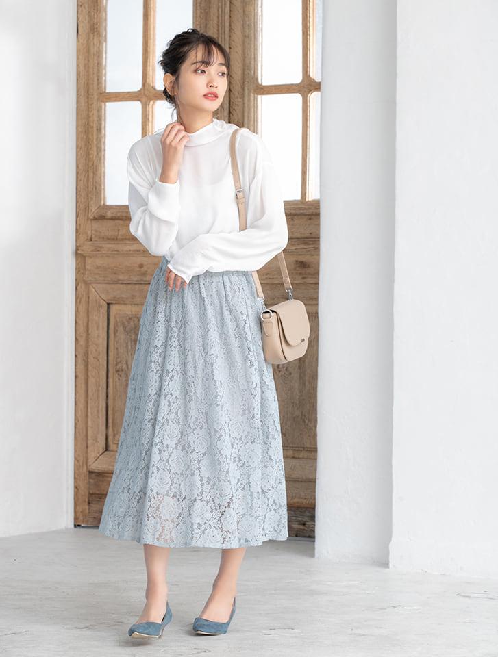 【星玲奈プロデュース】総レースフラワーフレアスカート