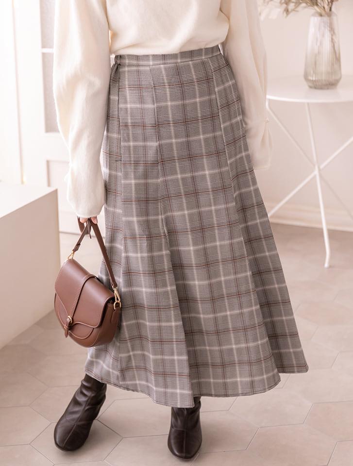 チェック柄マーメイドロングスカート