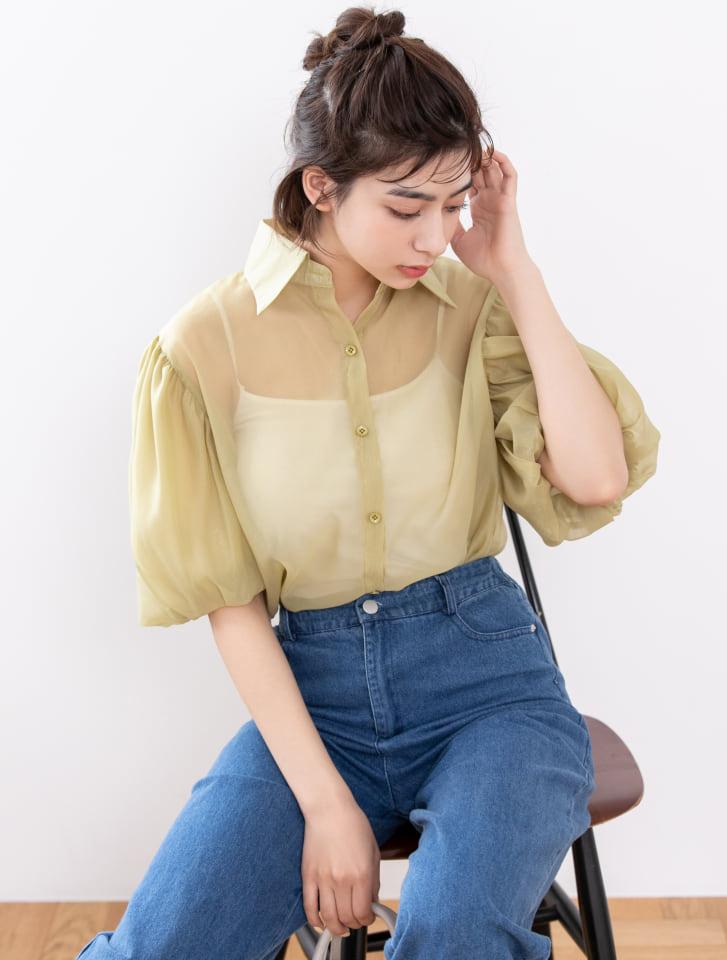オーガンジーボリュームスリーブシャツ