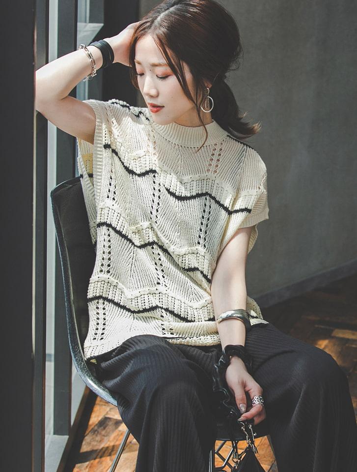 【Yukko Selected Items】透かしボーダーニットベスト