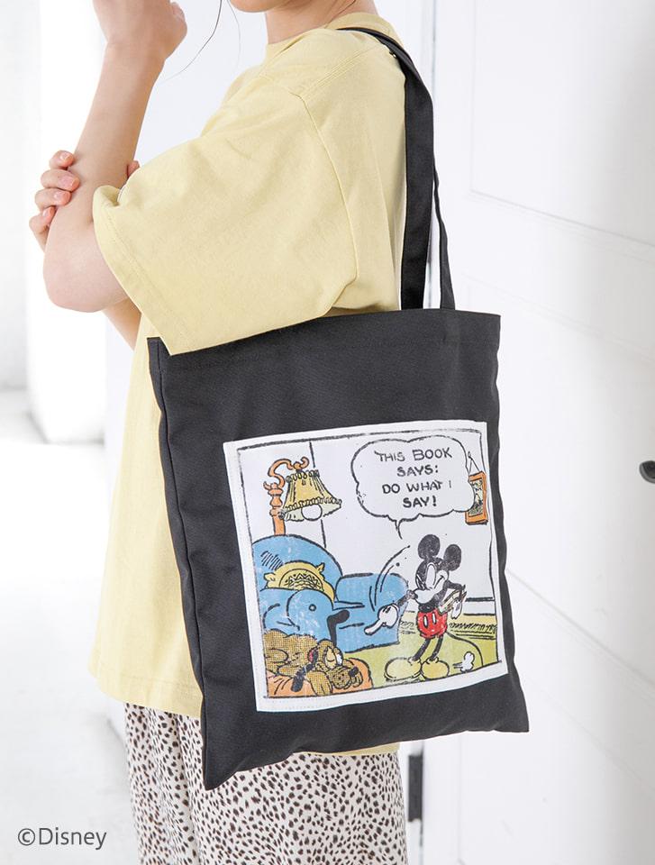 【Disney】ドナルド/ミッキー/ヴィンテージプリントトートバッグ