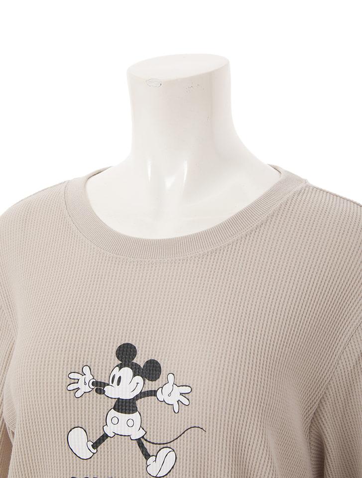【Disney】ミッキー/ワッフルプリントTシャツ