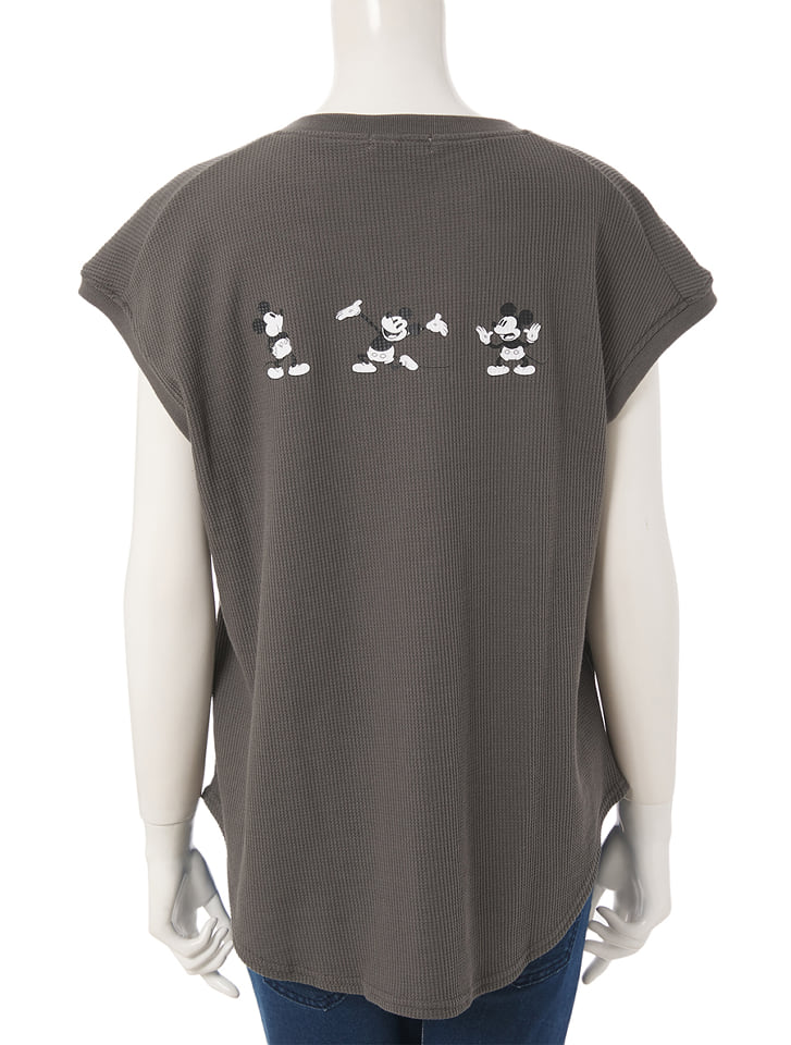 【Disney】ミッキー/ワッフルプリントキーネックTシャツ