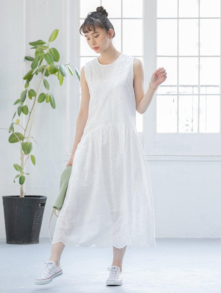 【Yukko Selected Items】コットンレース切替ワンピース
