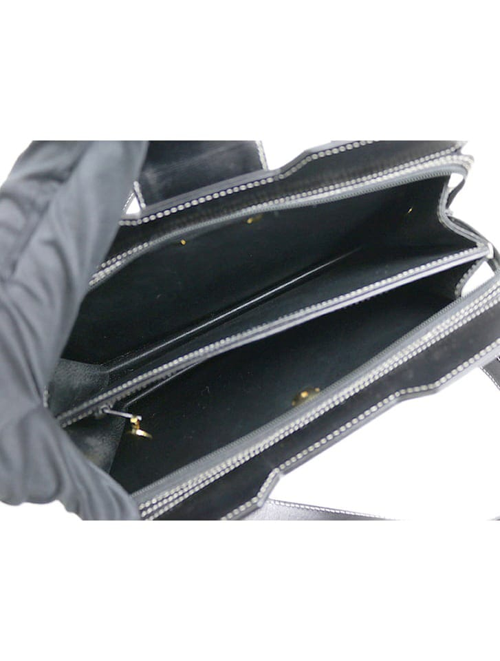 【Dior】カーフレザーホワイトステッチハンドバッグ