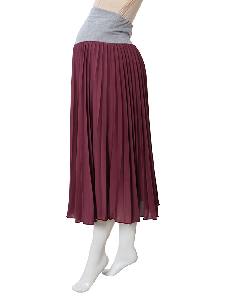 【マタニティ】ハイウエストプリーツミディスカート