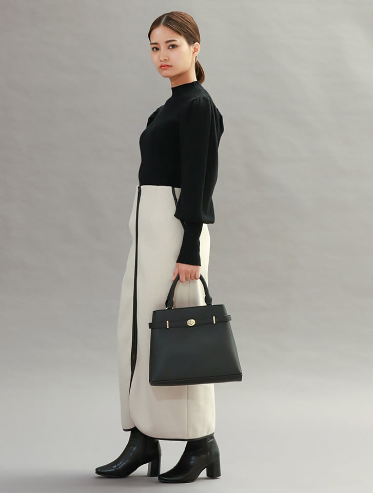 【High-Line】フロントスリムベルト台形ハンドバッグ