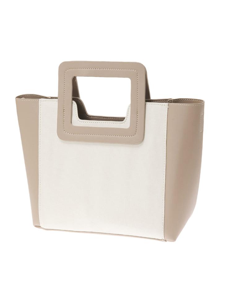 スクエアハンドルキャンバスハンドバッグ