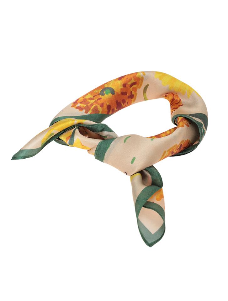100%シルクスカーフ(ひまわり)