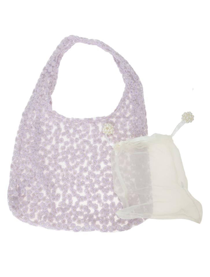 フラワー刺繍シフォントートバッグ