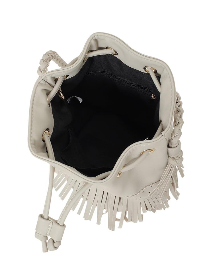 2wayフェイクレザーフリンジ巾着バッグ