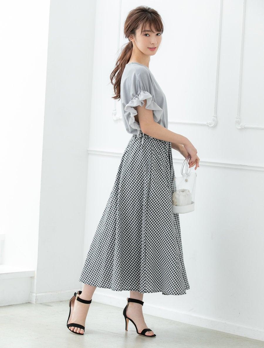 【インスタグラマーコラボ】ギンガムチェックロングスカート