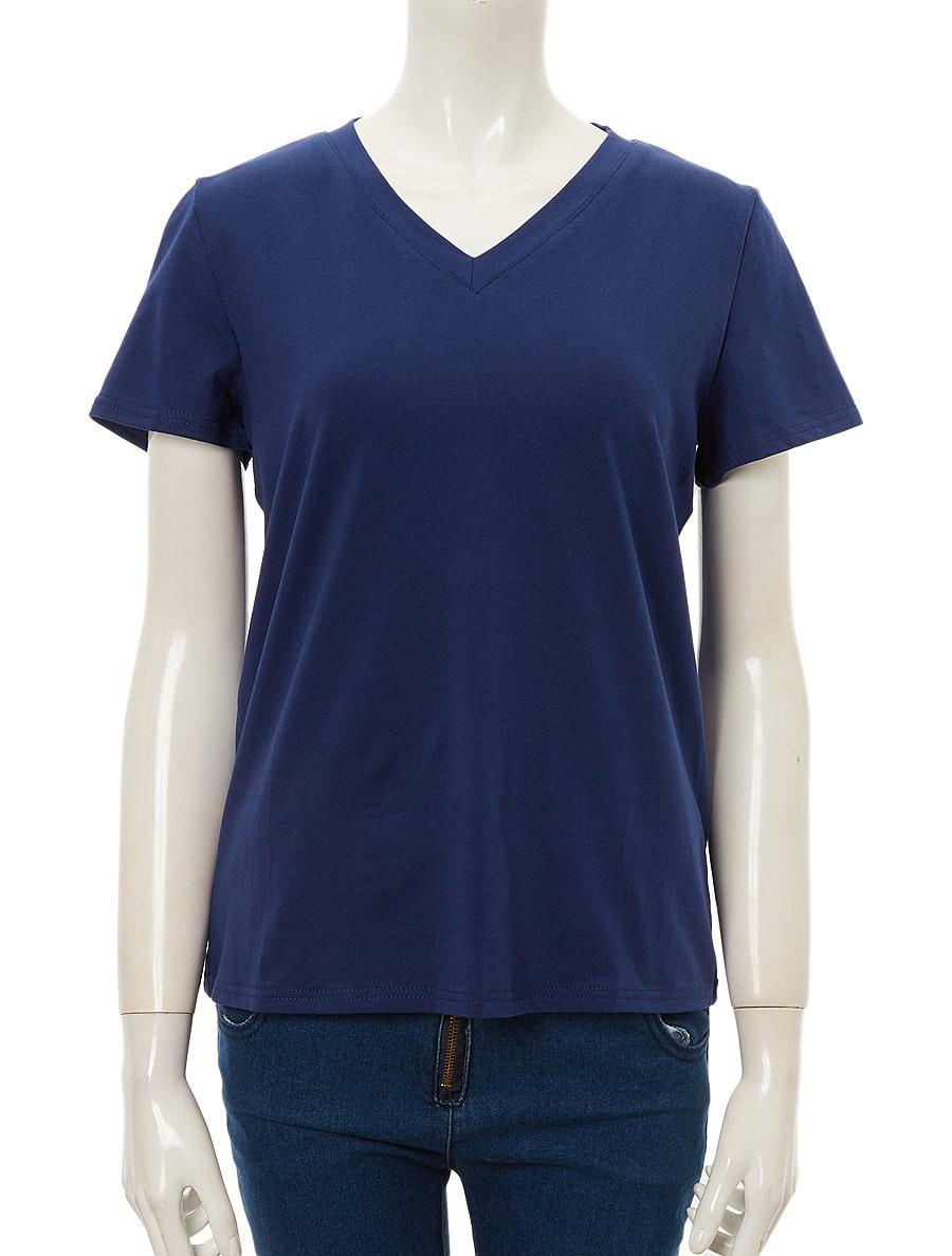 VネックストレッチシンプルTシャツ