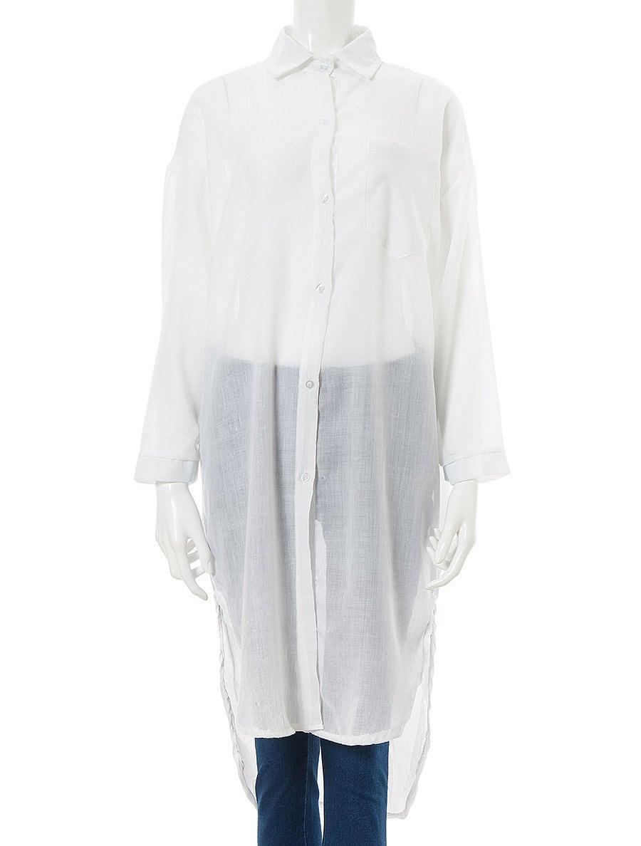 バックロングコットンリネンシャツ